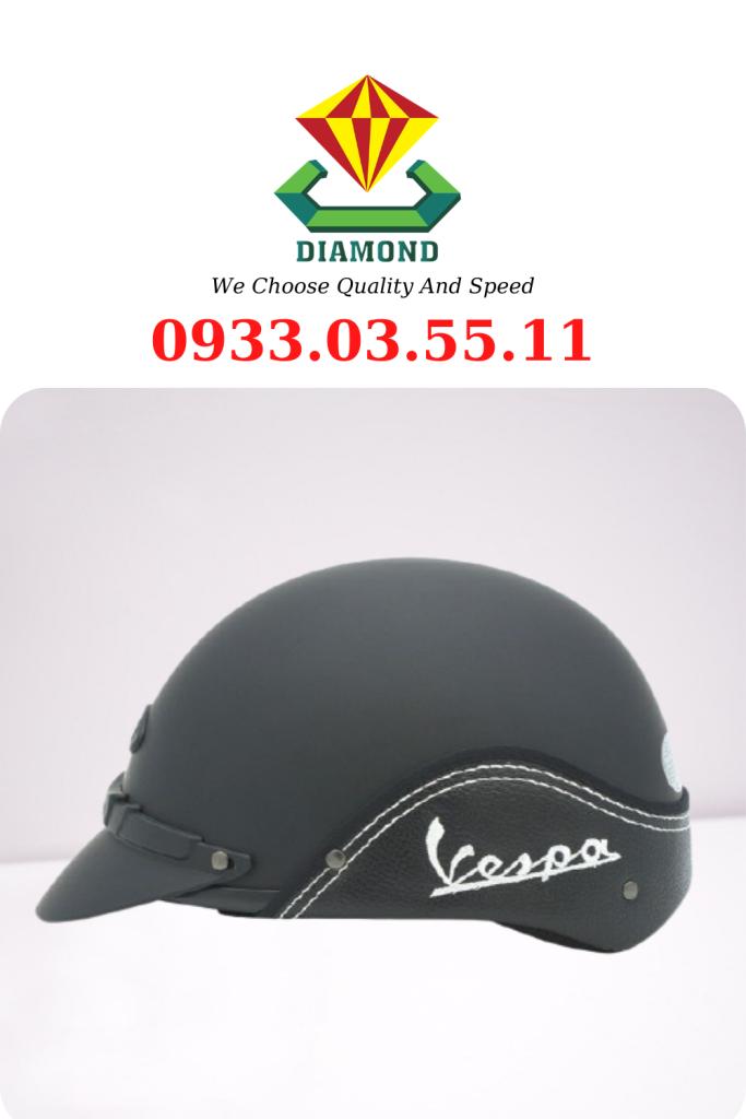 No.2 Nón bảo hiểm hally Vespa - Thêu thông tin cửa hàng, công ty đẹp