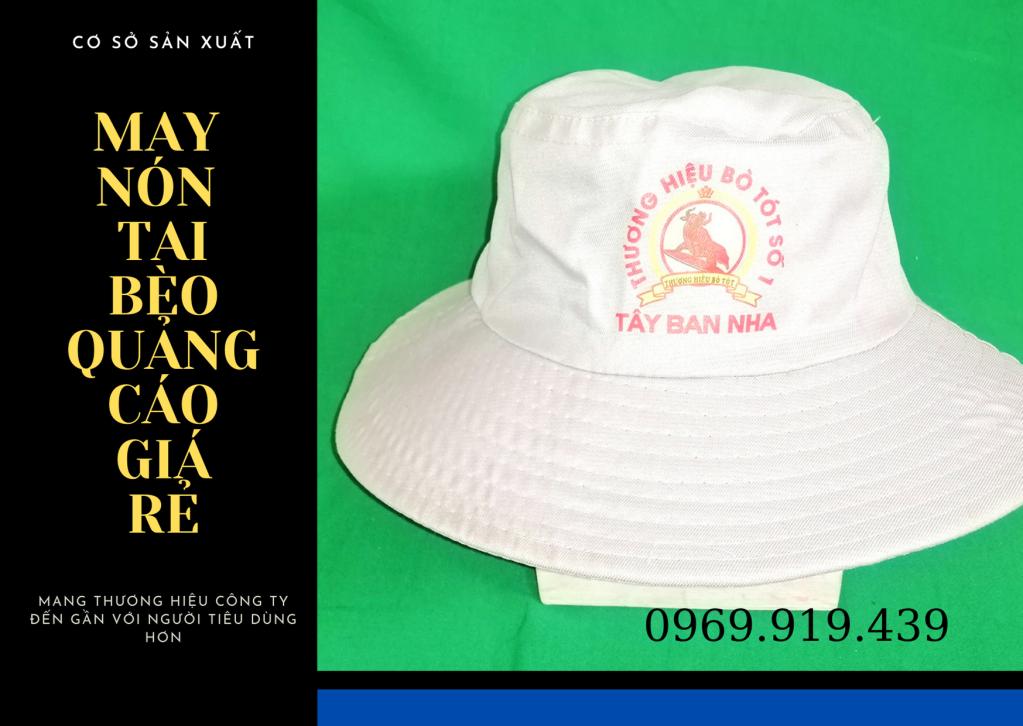 Mẫu nón tai bèo quảng cáo giá rẻ, vải kaki việt nam 2 giá chỉ 15,000đ/nón